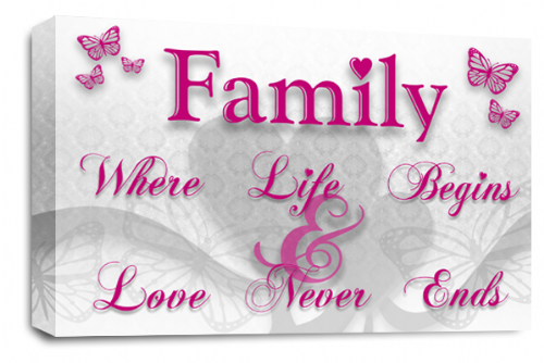 Family Quote Wall Art Picture White Plum Grey Love Print